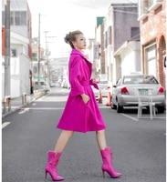 rose pink long wool coat women korean style winter elegant sashes work office cashmere woolen casual oversize outwear