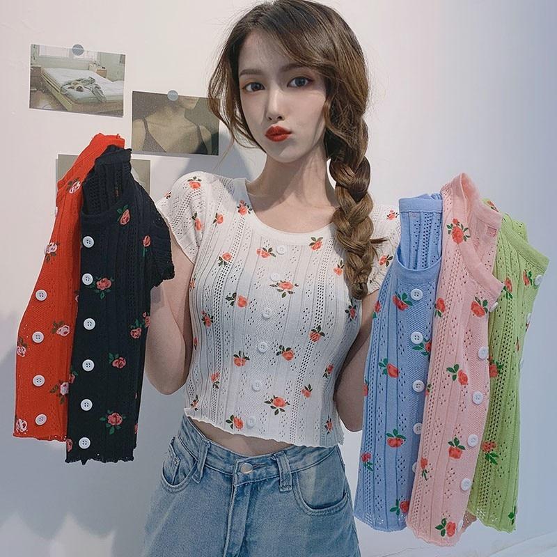 Women Short Shirt O-neck Flowers Printed Knitted Short-sleeved  Slim Fit T-shirt Exposed NavelShort Botton Tops New Fashion