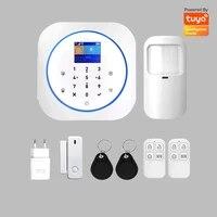 Systeme dalarme de securite domestique  GsmTuya  wi-fi  Smart Life  controle avec application  ecran Lcd  plusieurs langues  mouvement Pir  alarme douverture de porte