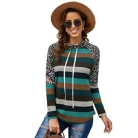 womens sweater autumn 2021 new european and american long sleeve camouflage splicing pile collar casual top women