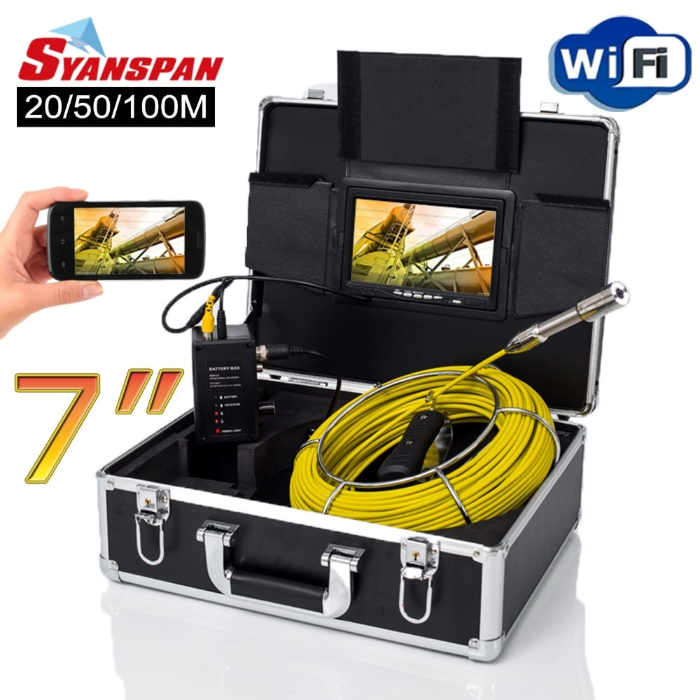 Review Pipe Inspection Camera, SYANSPAN 7 Inch Monitor Sewer Industrial Endoscope Wireless WiFi Support Android/IOS 20/50/100M