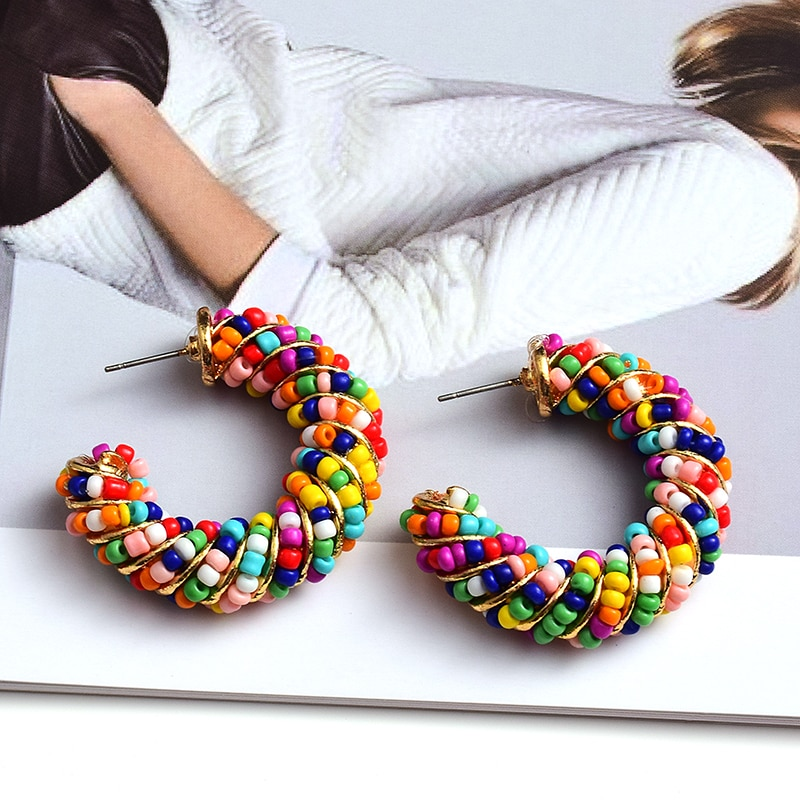 New Arrive Handmade Colorful Beads Round Earrings High Quality Fashion Trend Jewelry Accessories For