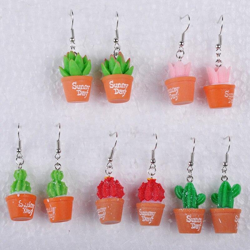 Resina dia ensolarado vasos plantas suculentas bonsai cactus brincos feminino gota balançar brinco orelha jóias ornamento menina jóias