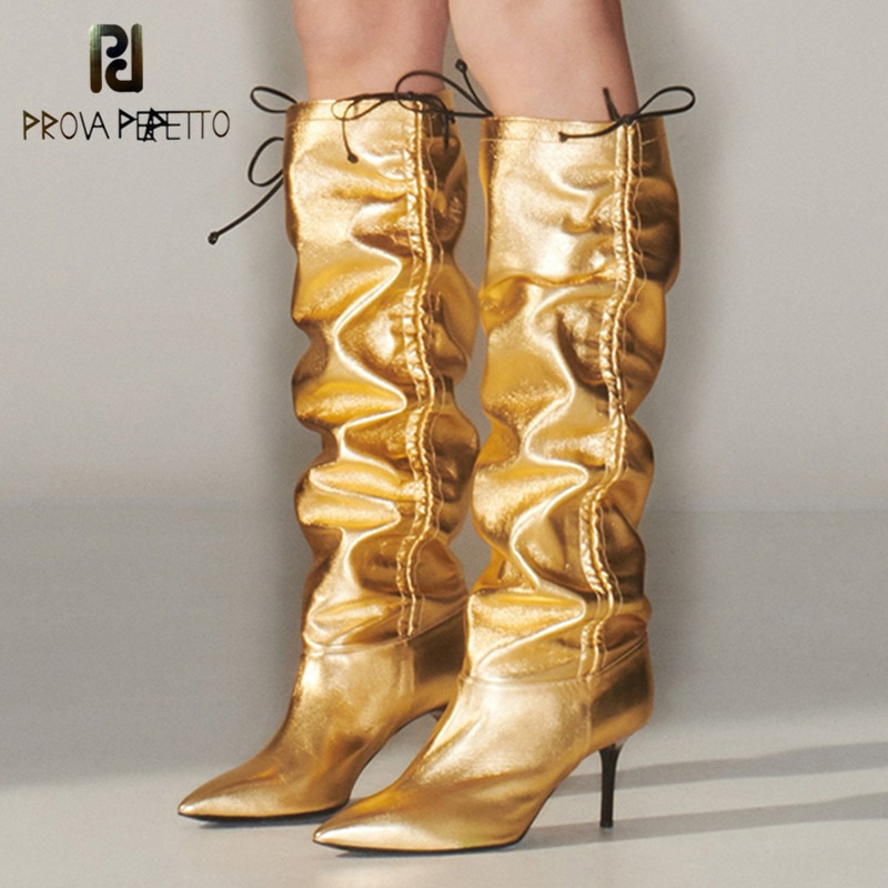 Prova Perfetto dos formas de llevar la novedad plegable charol mujeres botas altas hasta la rodilla Sexy punta del dedo del pie alto tobillo danza.