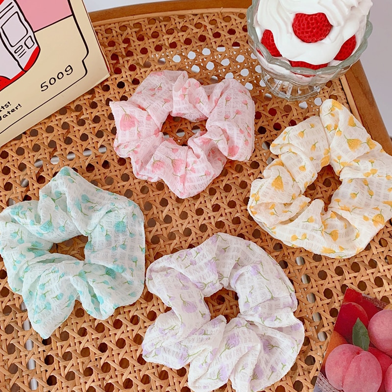 Korea Candy Colors Print Flower Scrunchie Elastic Hair Bands For Women Girls Ponytail Holders Summer Accessories