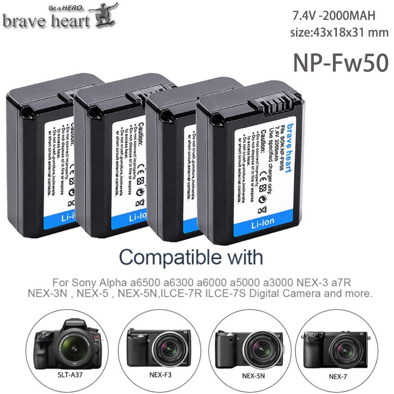4pcs 2000mah NP-FW50 NP FW50 Battery AKKU For Sony NEX-3N NEX-5 NEX-5N NEX-5R Alpha a5000 a6500 DSC-RX10 Alpha a7S a7II Alpha 7R