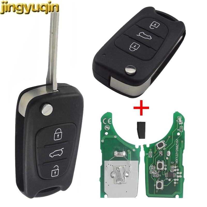 jingyuqin Remote Flip Car Key Case Shell Fit For Kia K2 K5 Sportage Hyundai I20 I30 IX35 Avante 433Mhz ID46 Chip 3 Buttons car key cover tpu remote protection key chain covers for kia k2 k5 sportage l811 sorento for hyundai i30 ix35 accent i20 sonata
