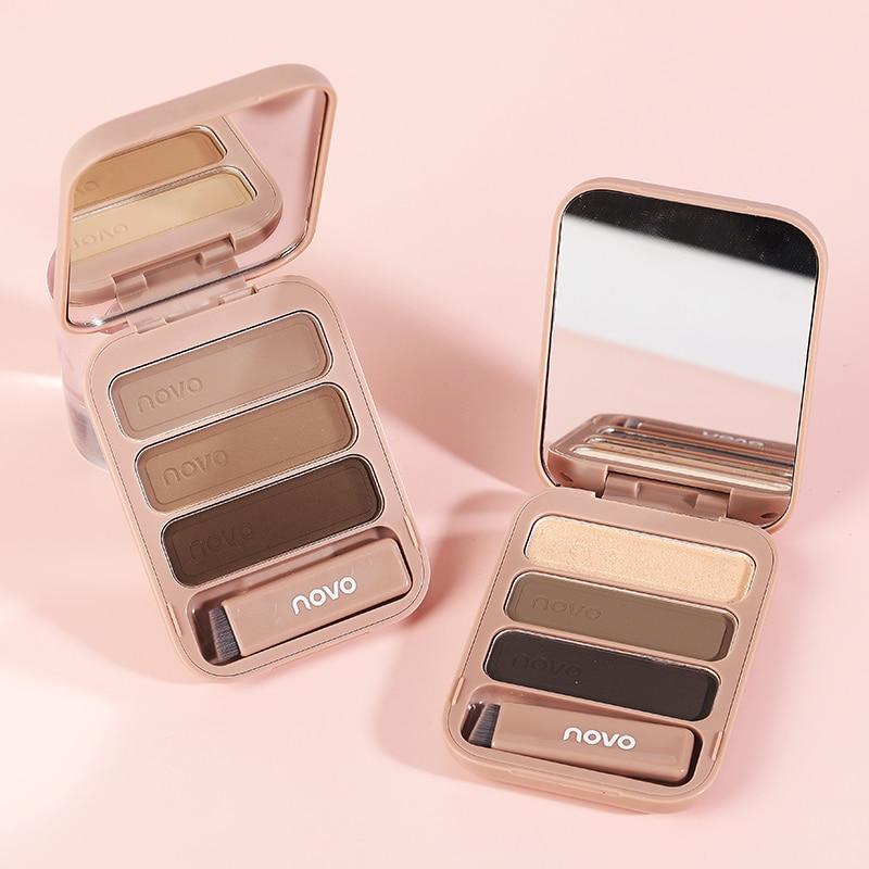 NOVO 3D polvo de cejas tres colores a prueba de sudor de larga duración paleta de maquillaje de cejas fina no quitar maquillaje de ojo de mujer TSLM2
