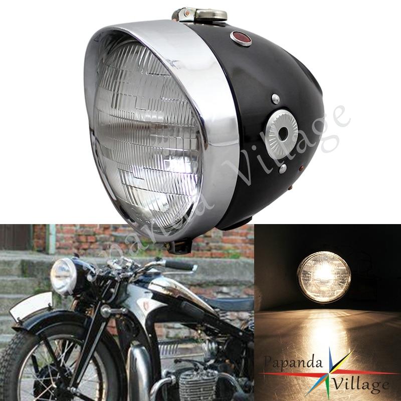 Motorcycle Cafe Racer Headlight Retro Front Lamp Custom for Zundapp BMW K750 KS750 M72 R12 R75 R51 R6 BW40 Dnepr Ural Sidecar