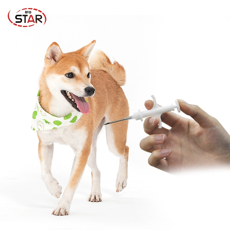 (50 unids/lote) ISO11784/85 134,2 KHz FDX-B implantes ID animal mini RFID microchip 1,4*8mm mascota perro jeringa para la identificación de los animales