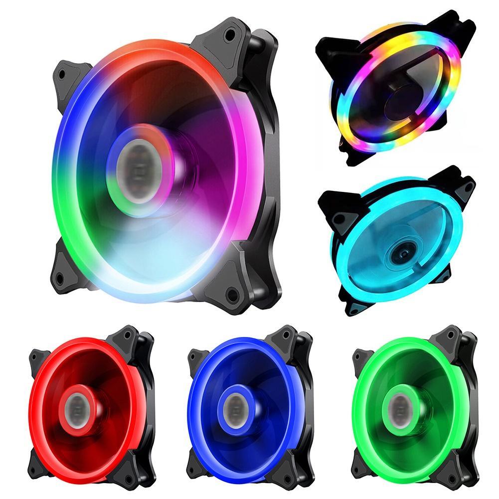 Rgb Fall Fan Lüfter 120mm 3pin Bunte Blau Rot Flüssigkeit Lager LED Computer Lüfter Kühler Kühlkörper