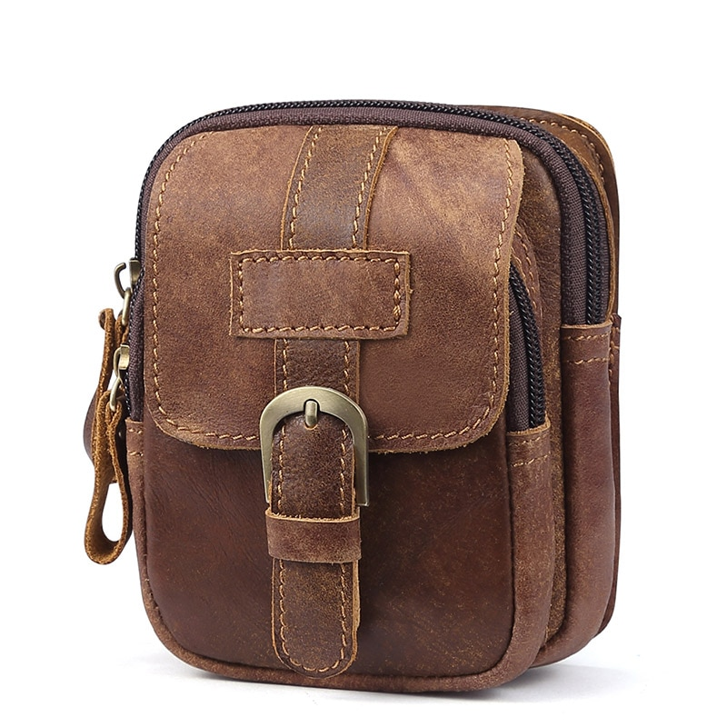 yiang new men s genuine leather cowhide vintage belt pouch purse fanny pack waist bag for cell mobile phone case cover skin New 2019 Genuine Leather Waist Packs Bag Men Travel Fanny Pack Male Belt Bum shoulder Bag Waist Bag Men Mobile Phone Pouch