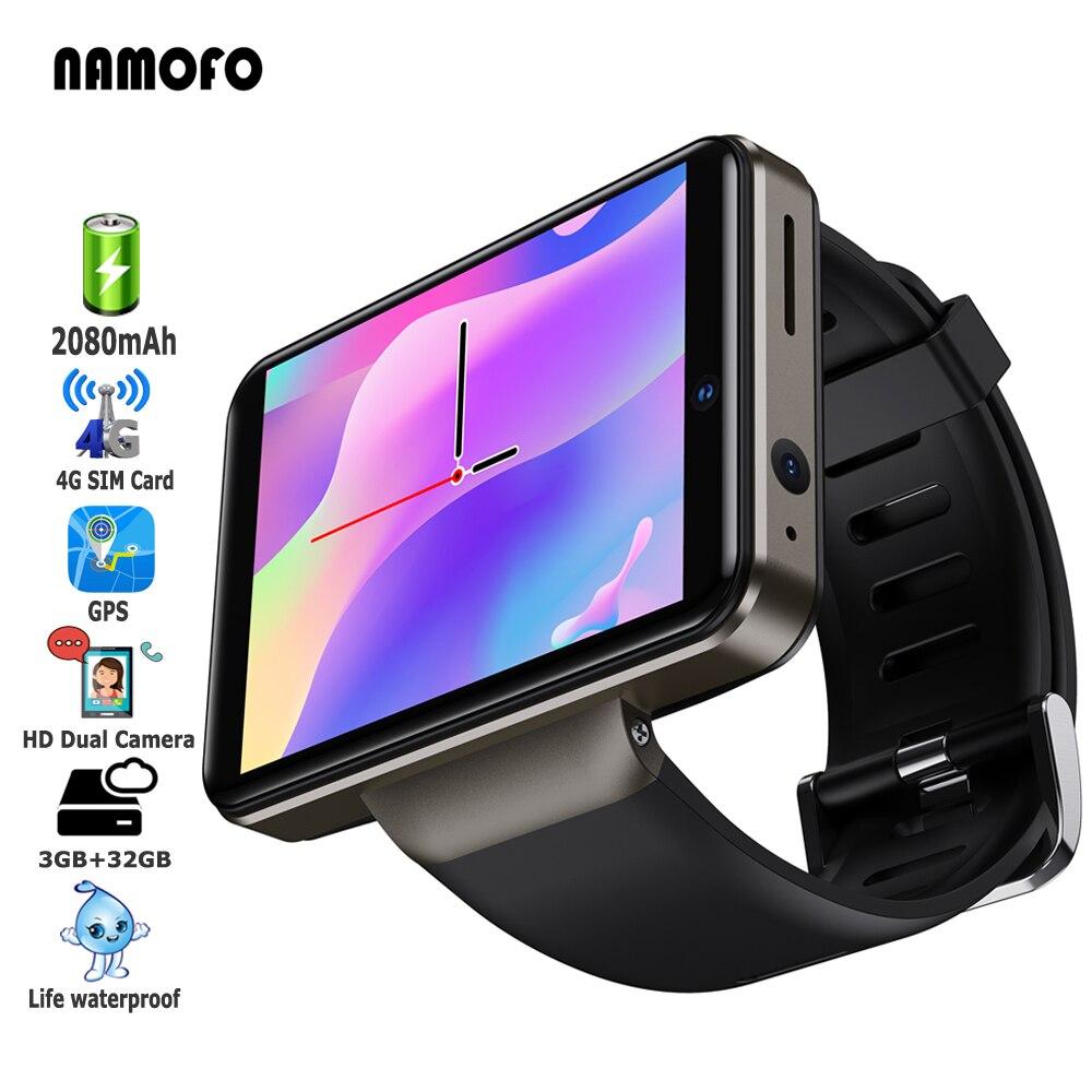 Get 2021 Smart Watch 4G Network 2080mAh 3GB RAM 32GB ROM Big Screen SIM Card GPS Dual Camera Waterproof Men Sport Tracker Smartwatch