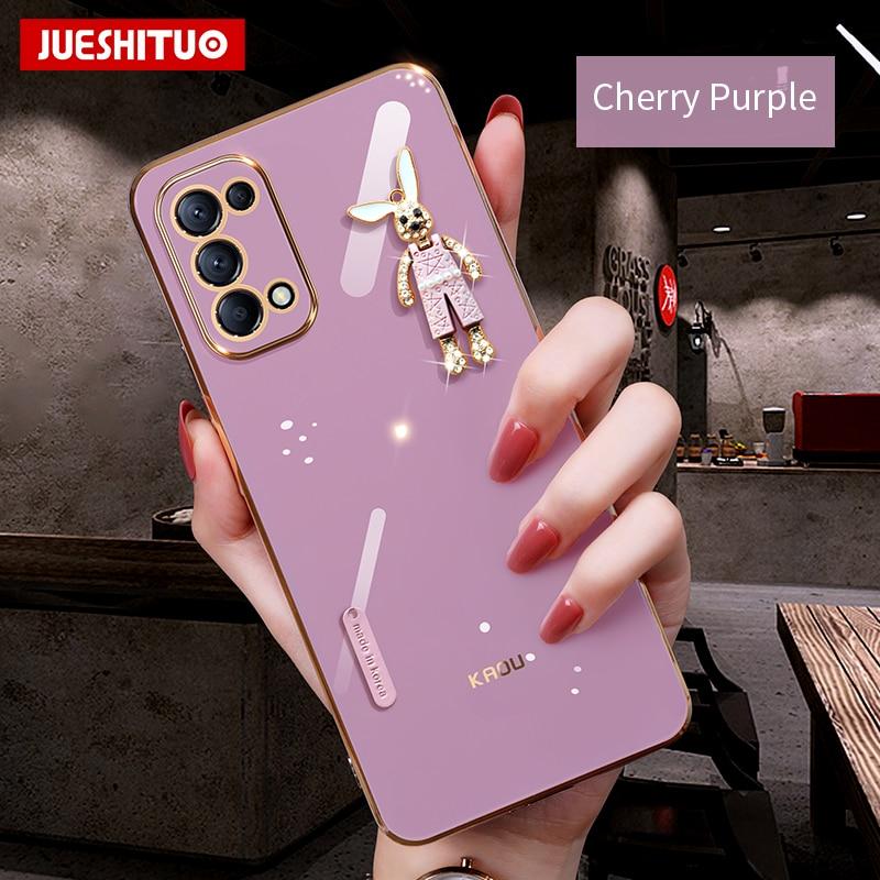 Модный чехол JUESHITUO для OPPO Reno 5 6 Pro Fine X3 с квадратной рамкой, чехол для телефона OPPO Reno 4 Pro, чехол с алмазными животными Бамперы      АлиЭкспресс