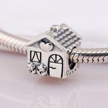 Authentic S925 Bead Charm Homefit Pandora Bangle Bracelet Sweet Home Bead  Love Heart Family Lady DIY Jewelry