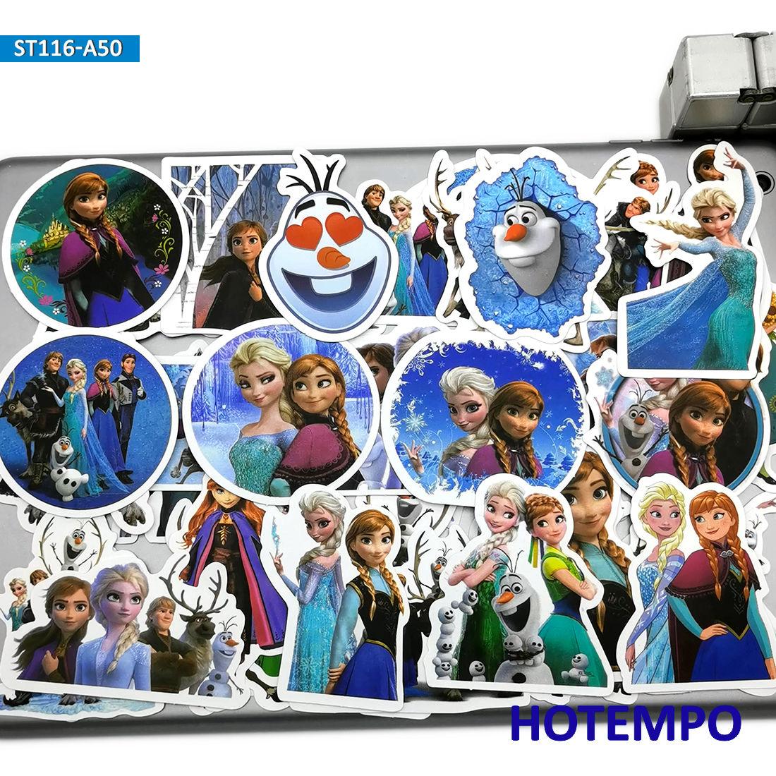 50 Uds. Pegatinas bonitas de Elsa Anna princesa Anime película juguetes para niños chica álbum de recortes Papelería Teléfono Móvil maleta para portátil pegatinas