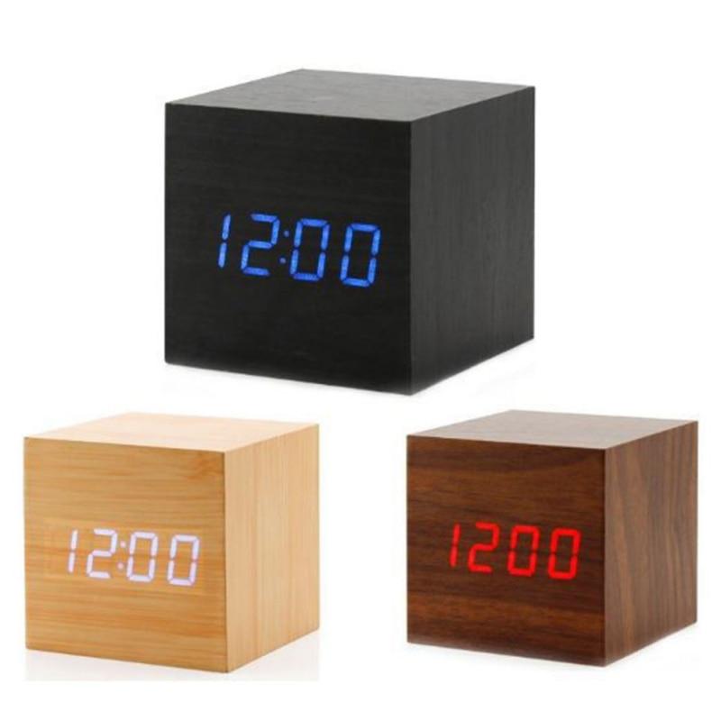 Mini madera suena Control reloj moderno de madera Digital de escritorio LED de alarma de reloj de mesa Calendario de mesa decoración de #7