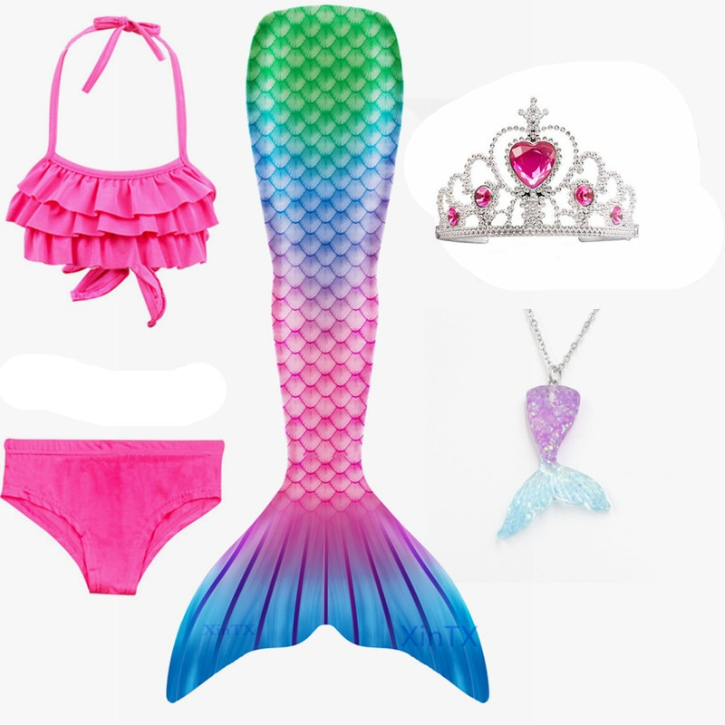HEIßER! 5 Teile/satz Kinder Mädchen Meerjungfrau Schwimmen Schwanz Badeanzug Sommer schwimmen kleid cosplay meerjungfrau schwänze Keine monofin Bademode für Mädchen