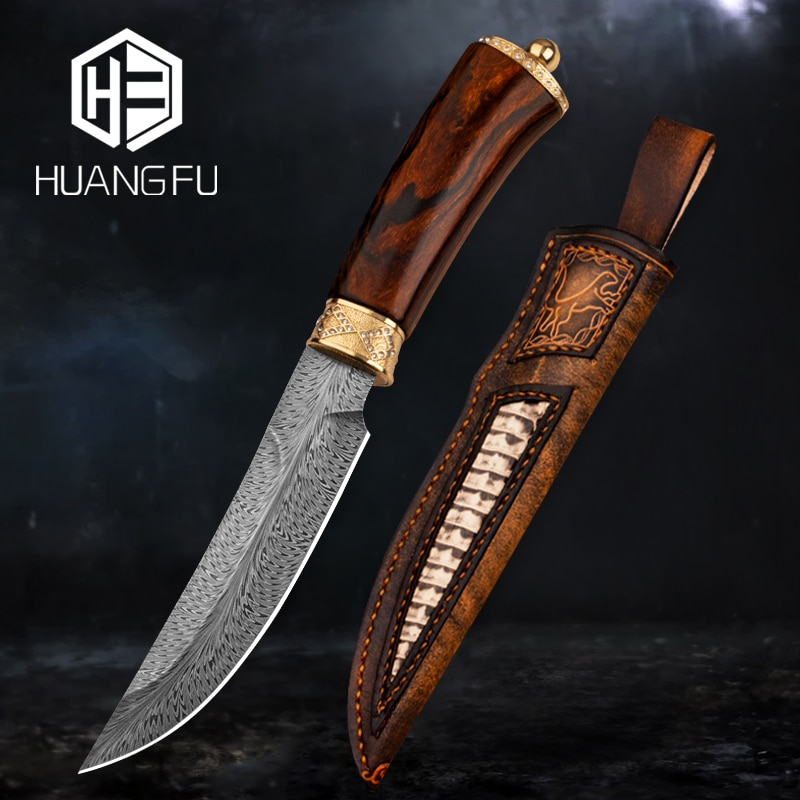 Feather striped Damascus steel high-end collection hunting knife Nordic fixed blade/handle diamond-plated solid gold