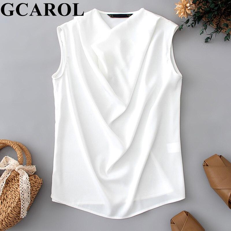 GCAROL mujeres asimétrica longitud camisa blanca 100 algodón Casual Oversized Boyfriend estilo blusa Back Buttons Decoración Camisetas largas