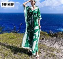 Femme ethnique vert imprimé caftan ample plage couvrir robe grande taille robe longue