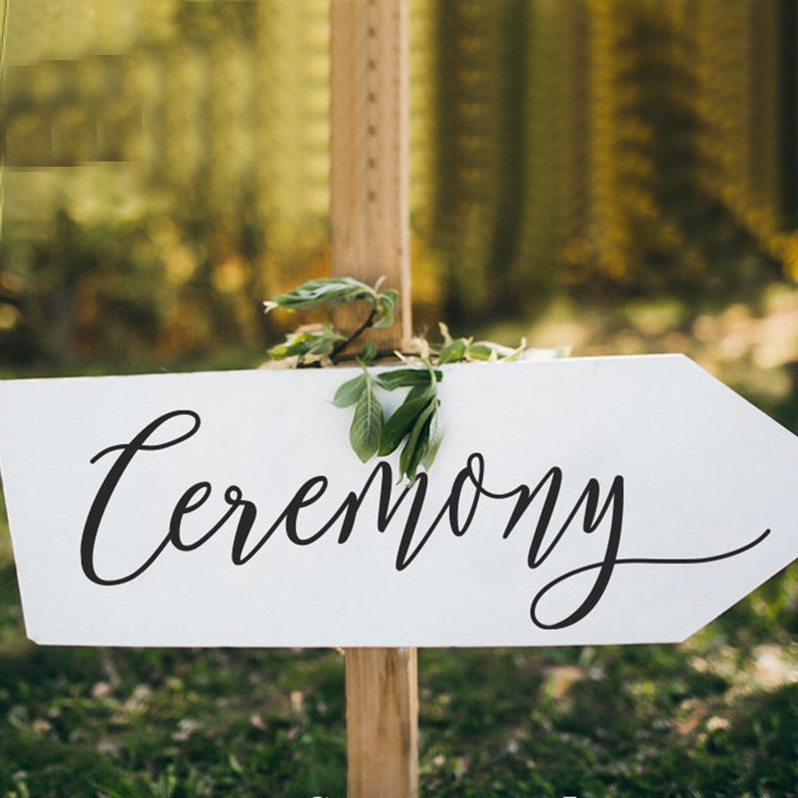Boda ceremonia signo calcomanía boda decoración pizarra calcomanías DIY personalizado boda vinilo adhesivo papel pintado extraíble C397