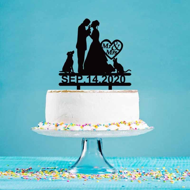Fecha de boda personalizada novio novia y perro gato adorno acrílico para pastel para boda y aniversario torta decoración Toppers YC014