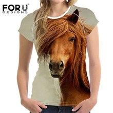 FORUDESIGNS Frauen T shirt Crazy Horse Gedruckt Kurzarm Oansatz Sommer Fashion Tees Damen Streetwear Casual Tops Camiseta Neue