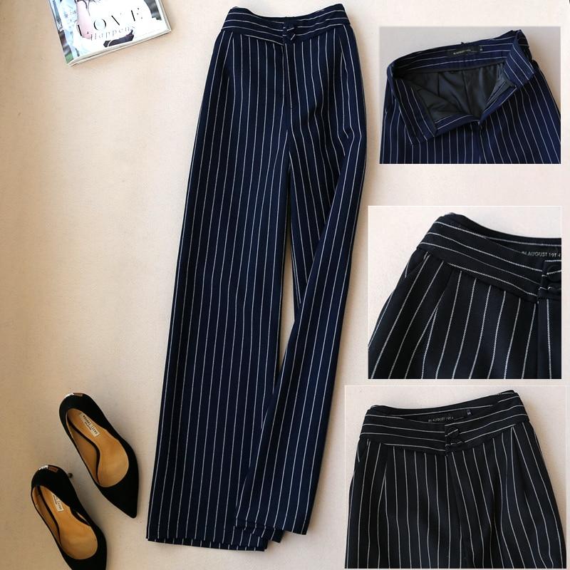 Primavera otoño nuevas mujeres estilo coreano pierna ancha alta cintura Casual pantalones sueltos Pantalones rectos