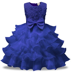 New Arrivals Blue Red Pink White Baby Girl Ball Gown Flower Pattern Pretty Children Party Girls Dresses for Birthday and Wedding