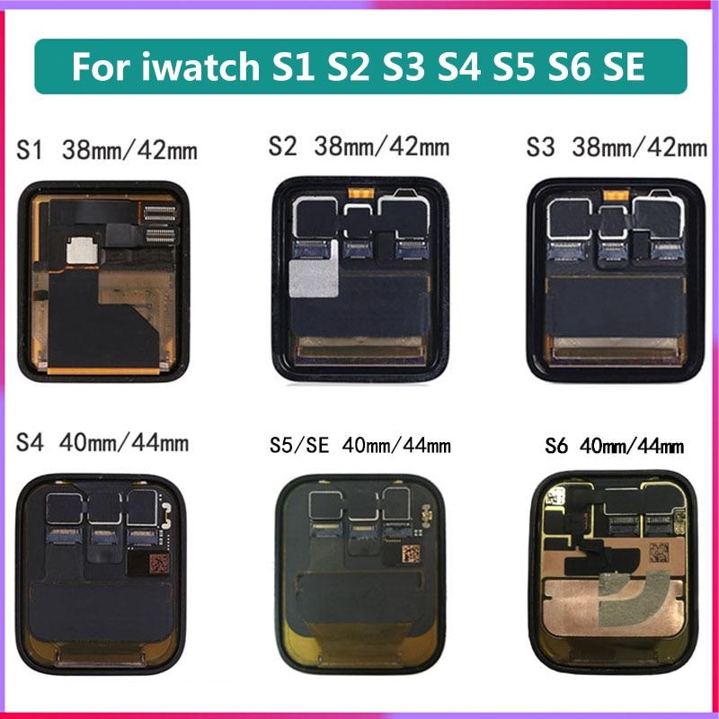 LCD عرض ل أبل سلسلة ساعة 1 2 3 4 5 6 SE استبدال شاشة تعمل باللمس ل iWatch S3 GPS LTE 38 40 مللي متر 42 مللي متر محول الأرقام الجمعية