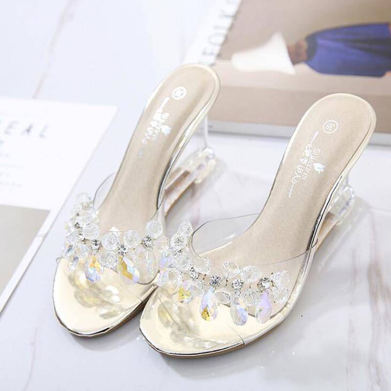 Zapatillas YEELOCA para mujer, zapatos deslizantes de tacón Ultra alto, cuñas de flores de 8,5 cm, sandalias transparentes de cristal para boda, tamaño 34-43