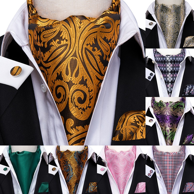 Cachemira clásica 100% seda Ascot bolsillo corbata cuadrada Ascot Scrunch Self estilo británico Caballero bufandas de vestir Tie Party Set de Ascot