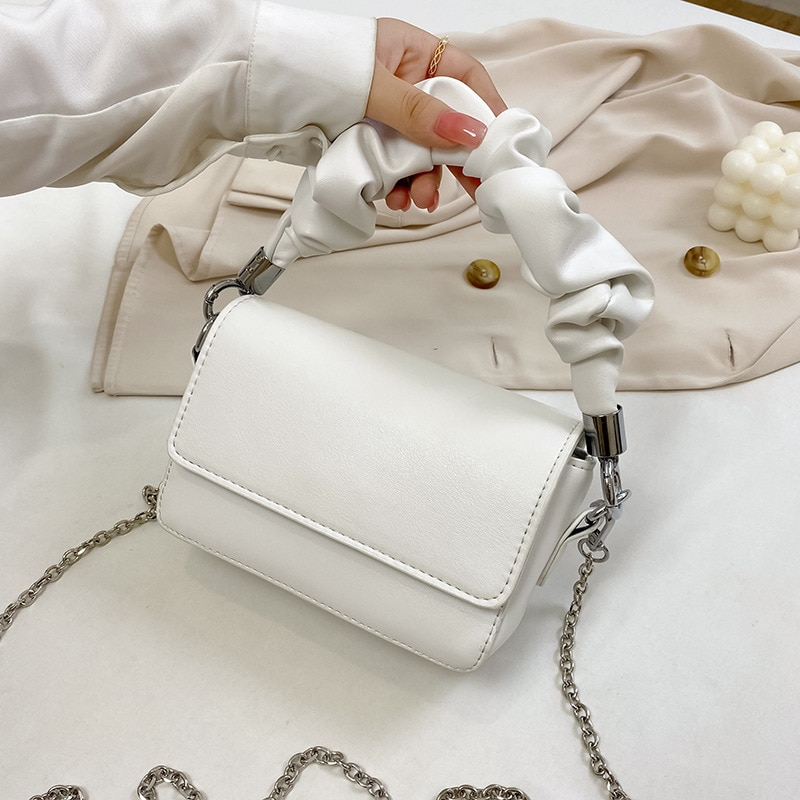 Solid Color Pleated Small Tote Bag Fashion High-quality Leather Women's Designer Handbag Chain Shoulder Messenger Bags 2020 New