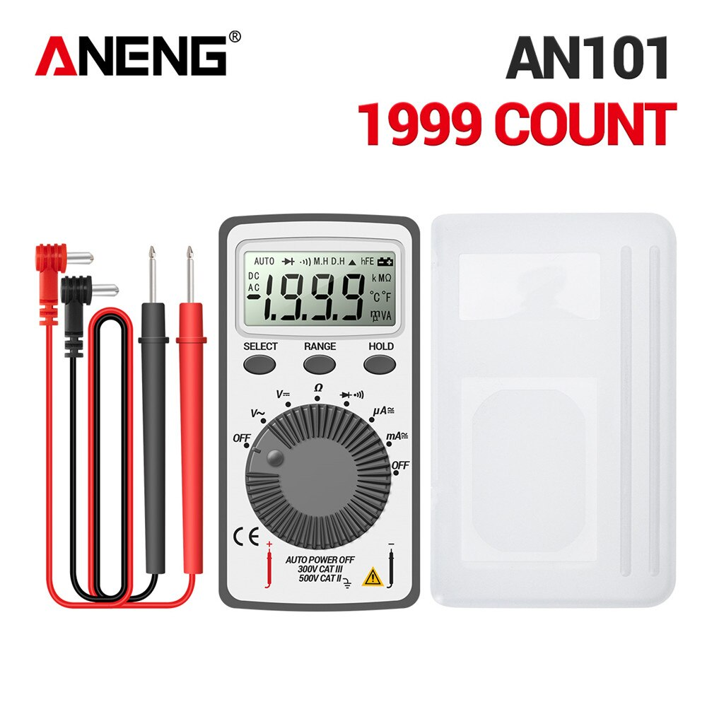 ANENG AN101 Mini multímetro digital probador de multímetro DC/AC voltaje corriente lcr medidor de bolsillo probadores profesionales con prueba de plomo