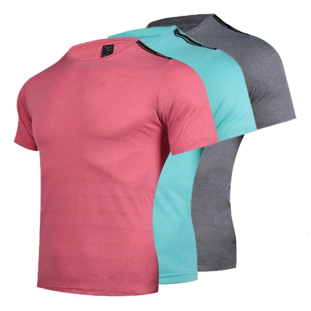 Дышащие футболки для бега, футболки из полиэстера, быстросохнущие футболки с коротким рукавом для спортзала и фитнеса, мужские спортивные ф...