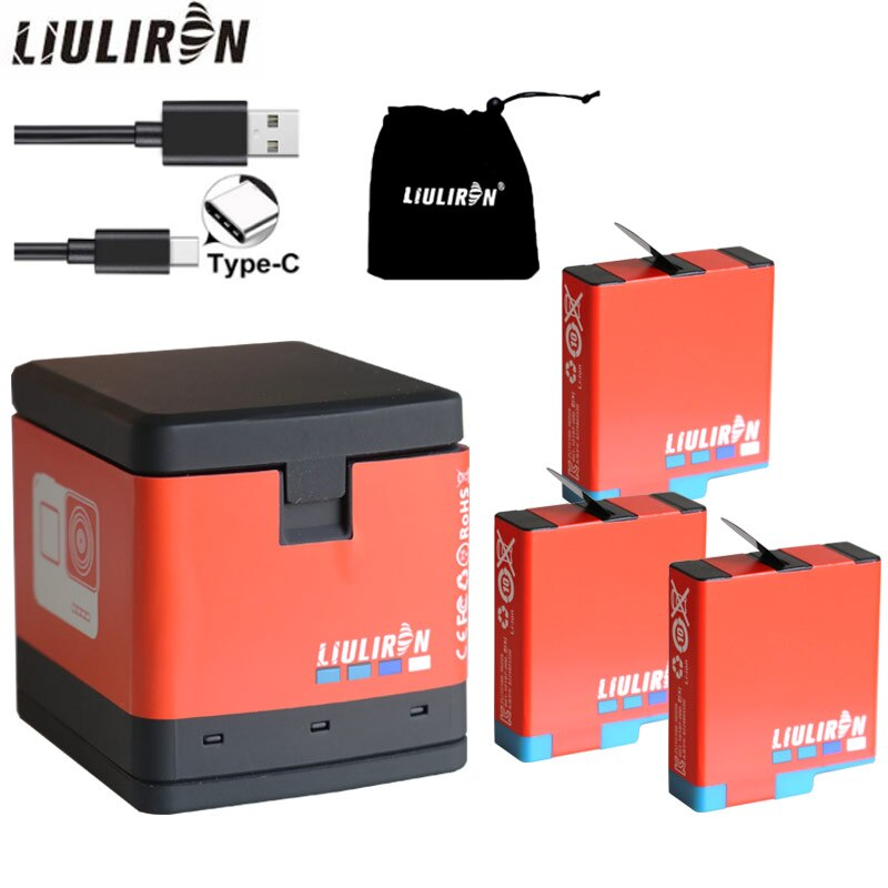Cargador de batería LED de alta calidad para GoPro Hero 8 black, HERO 7 black, HERO 6 black, HERO 5 o dual ranura para tarjeta