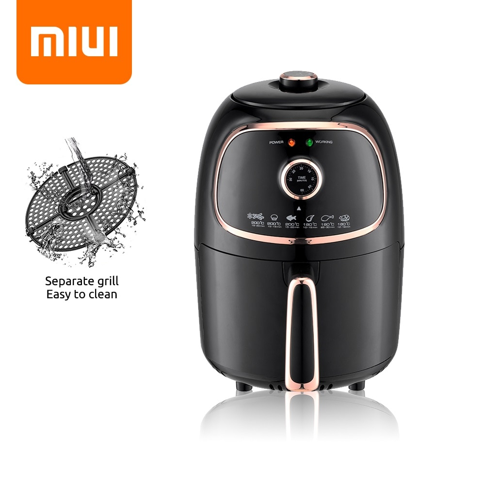 MIUI 2L Mini Air Fryer, MI-CYCLONE 360° Baking + Mechanical Oven, Power-saving & Precise Design, Ea
