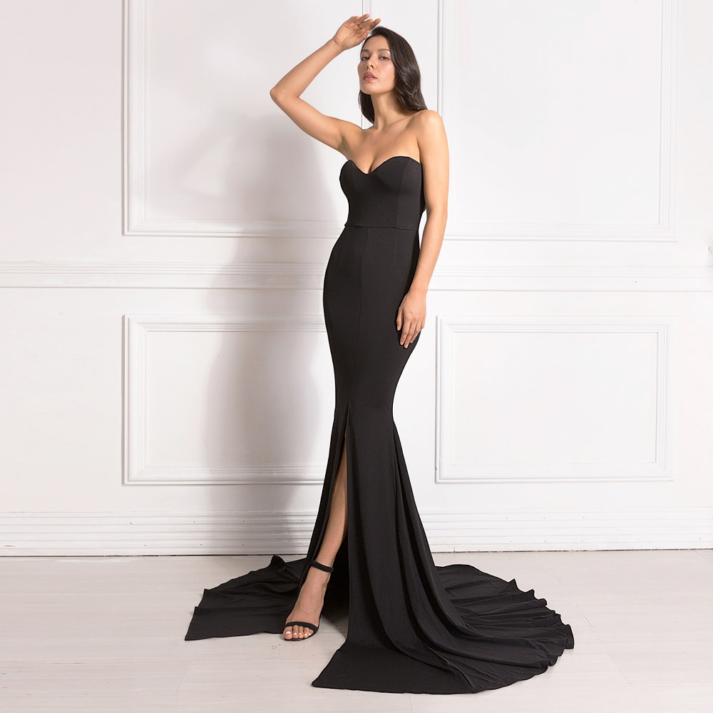 Sexy Strapless Long Black Maxi Dress Front Slit Bare Shoulder Red Women's Evening Summer Night Gown Party Maternity Dresses
