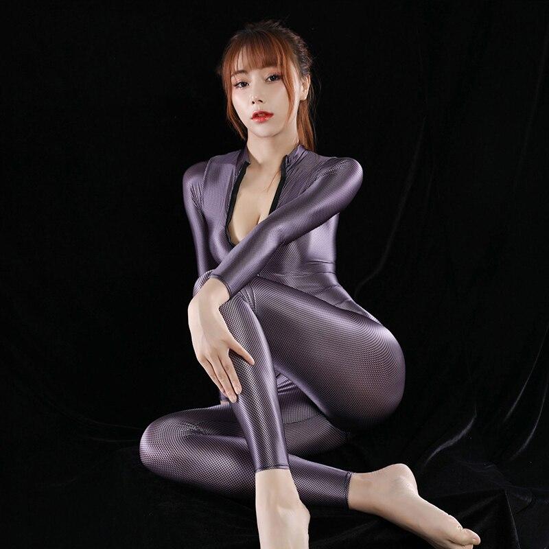 HYRAX Bodysuit Sexy Backless One Piece Swimwear Satin Glossy Leotards Women High Elasticity Glitter