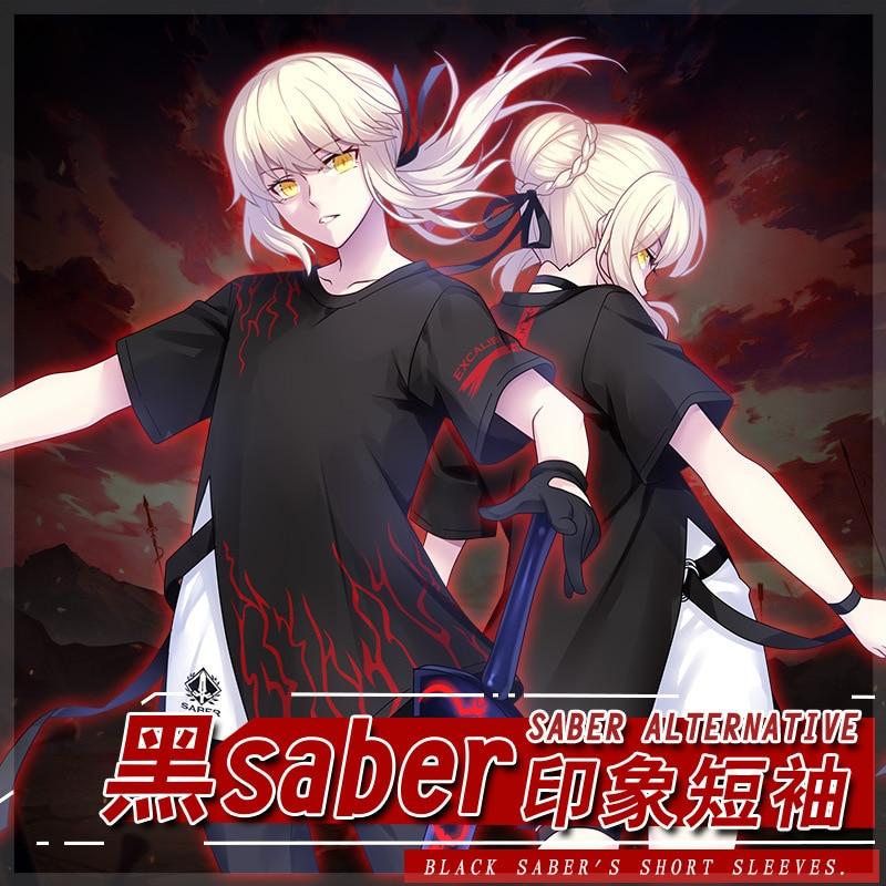 Anime Fate/Grand Order Saber Casual blusa camiseta hombres mujeres novedad de verano de manga corta Unisex suelta Tee Haori abrigo Cosplay traje