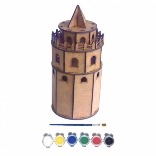 JoyAndToys Galata Tower Pattern Wooden Toy Painting Set 3D Puzzle Sensory Motor Montessori Education Learning Daily Skill Color
