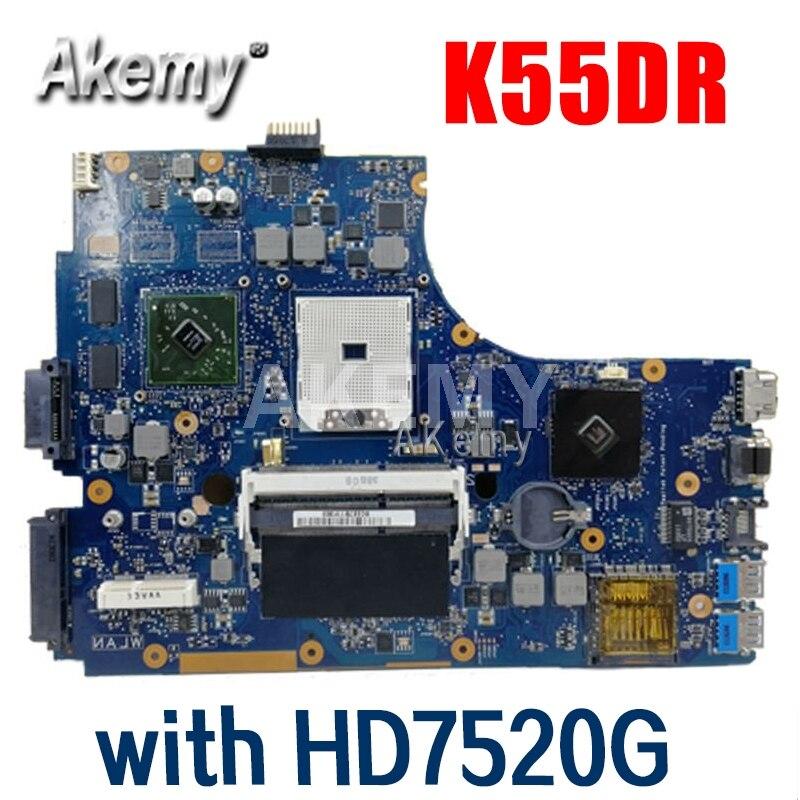 أمازون اللوحة الأم For Asus K55DR K55DE مع HD7520G بطاقة الفيديو المنفصلة