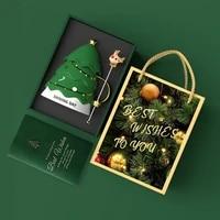 creative christmas ceramic mug gift box spoon mug with lid birthday christmas gift for friends christmas tree shape trend