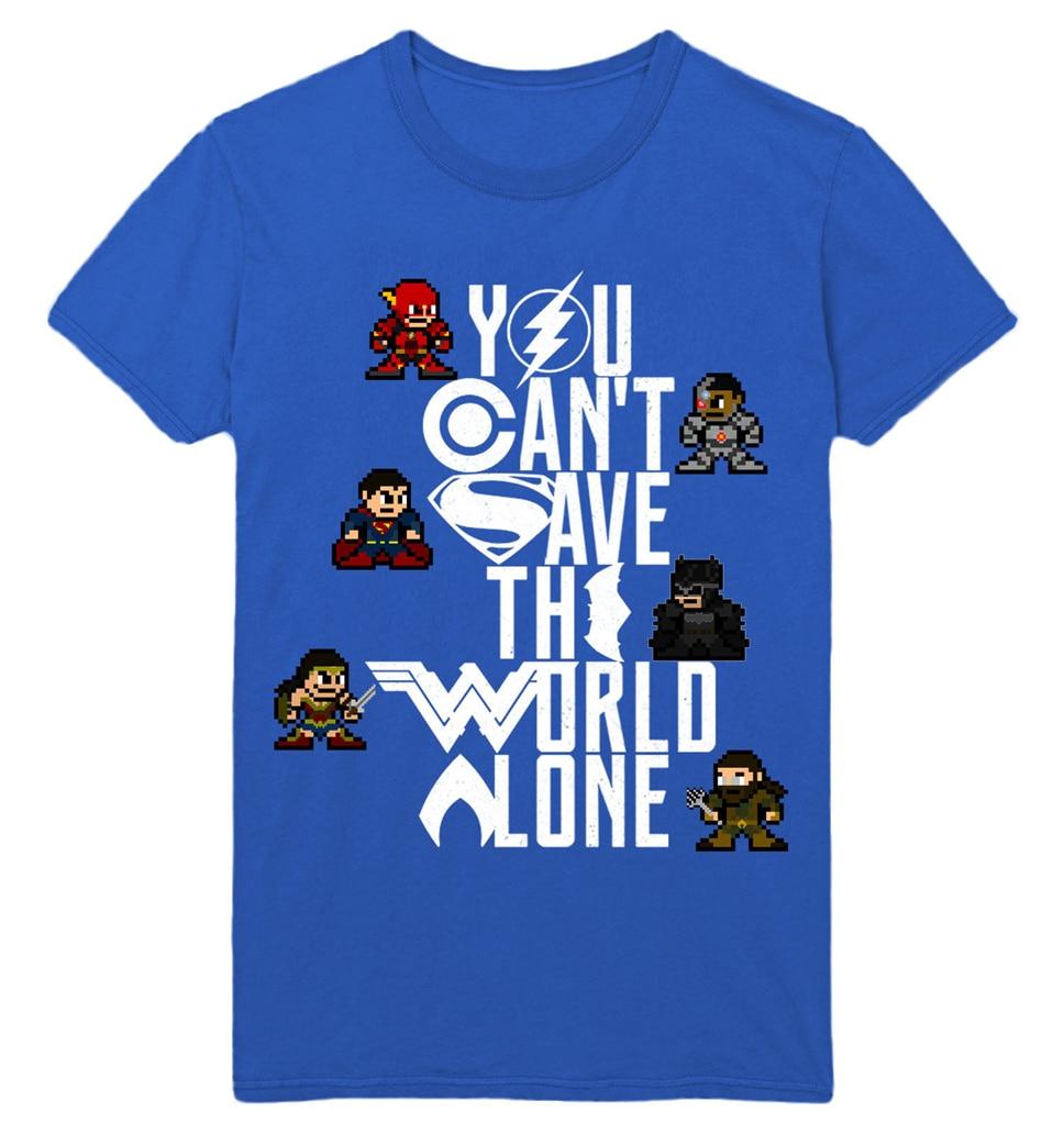 Camiseta Unisex de 8 bits de la Liga de la justicia de América que no puedes salvar el mundo, envío gratis, camiseta ligera