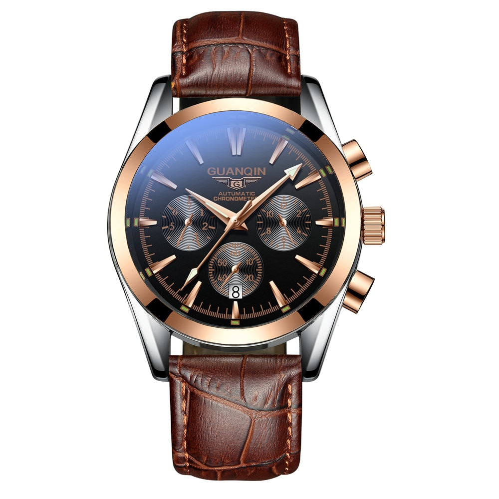 GUANQIN-ساعة رجالية أوتوماتيكية من الياقوت ، ساعة يد جلدية ، مقاومة للماء