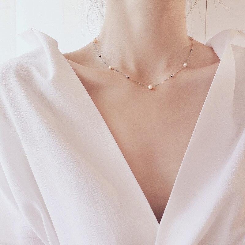 S925 collar de perlas con estrellas de plata fina para mujeres gargantilla Natural estilo coreano estudiantes-Simple elegante