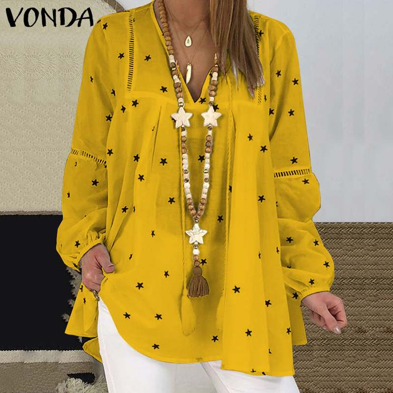 2021 VONDA Women Sexy V Neck Star Printed Tops Loose Blouses Autumn Long Lantern Sleeve Shirts Beach Casual Bohemian Blusas