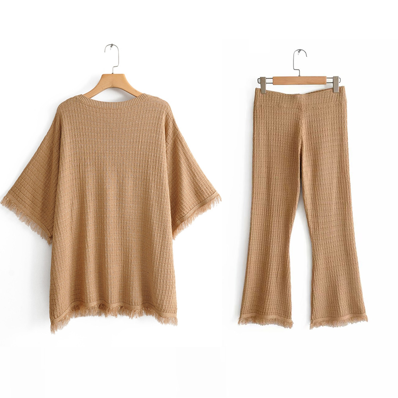 Otoño color camel suéter de punto de Mujer tops México estilo O de media manga cuello borlas borde áspero elegante tops Casual sueltos femme
