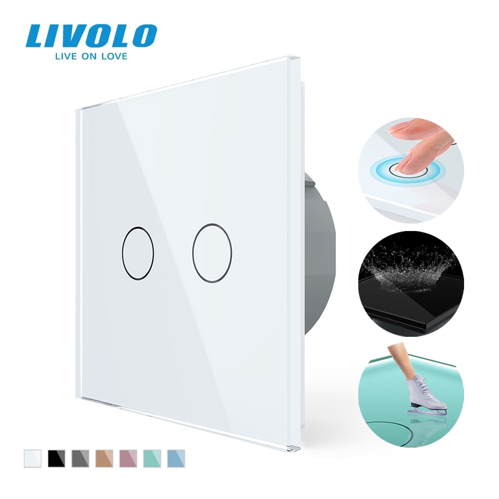 Livolo EU Standard 2 Gang 1 Way Wall Touch Light Switch,Wall power sensor switch,7colors Crystal Glass Panel,with led backlight